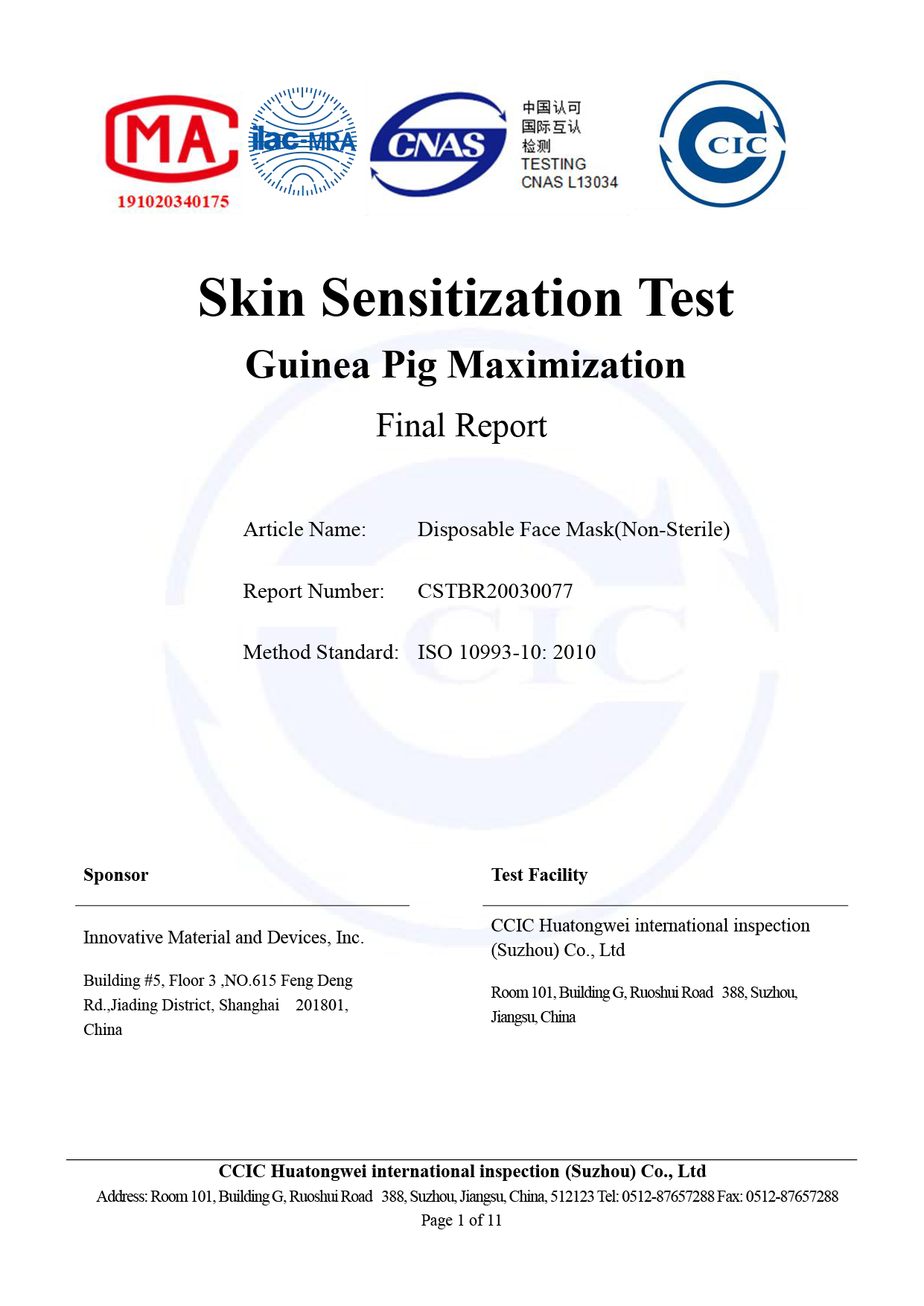 CCIC_IMD Disposable Face Mask(Non-Sterile)_ Skin Sensitization Test Report